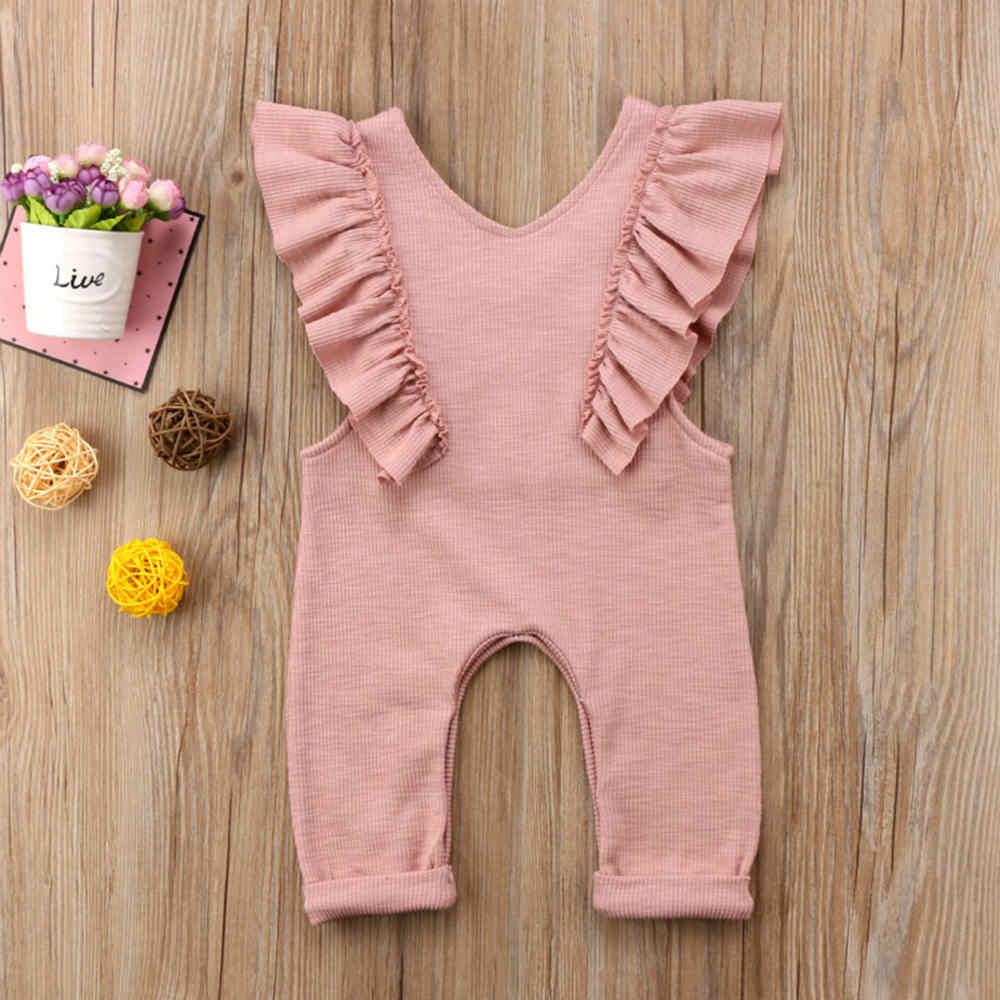 Летние Плиссированные Комбинезоны для маленьких девочек, однотонные Длинные Комбинезоны без рукавов с оборками, комбинезон, одежда для девочек, розовый, коричневый цвет, от 0 до 18 месяцев