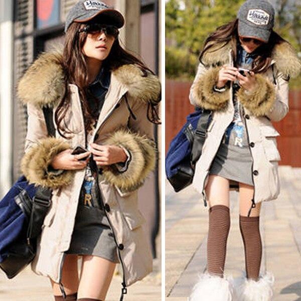 Winter Thicken Warm   Parkas   Women Casual Raccoon Fur Collar   Parka   Coat Hoodie Long Jacket Outerwear Solid Army Green Beige Black