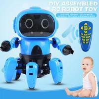 RC Robot Toy Set Children DIY Assembled Gesture Sensing Control Sing Dancing Remote Control Hexapod Robot Model For Kids