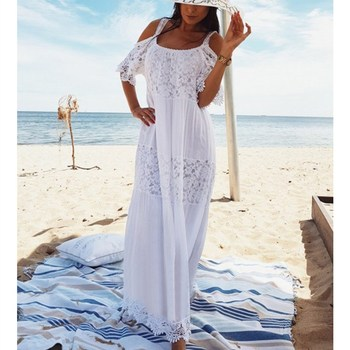 цена на 2019 Summer Bohemian A-line Maxi Dresses Sexy Strap Cold Shoulder Hollow Out Lace Dress Women Long Beach Dress
