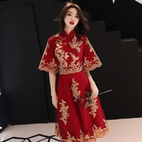 China Lace Bride Qi Pao Chinese Wedding Dresses Oriental Traditional Style Qipao Red Long Cheongsam Party Dress Embroidery Gown