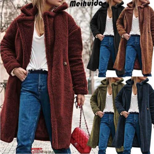 2019 zimowe ciepłe Faux futro płaszcz damski kurtka kobiet płaszcz z wełny baranka płaszcz z długim rękawem z kapturem znosić sweter
