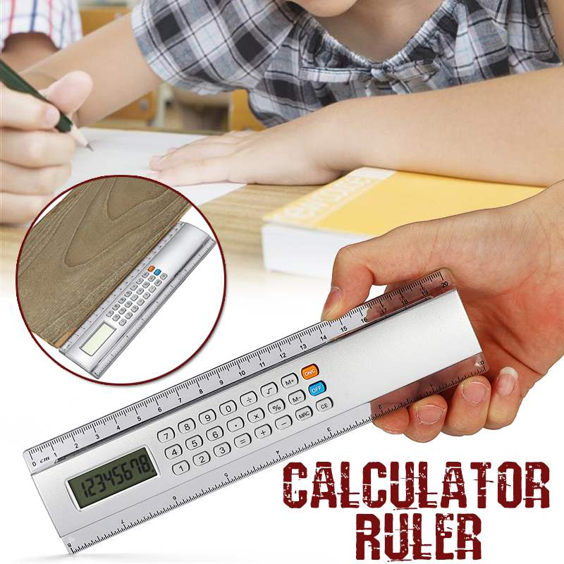 Multifunctional  20cm Ultra-thin Ruler With CalculatorMeasuring Tool School Office Woodworking