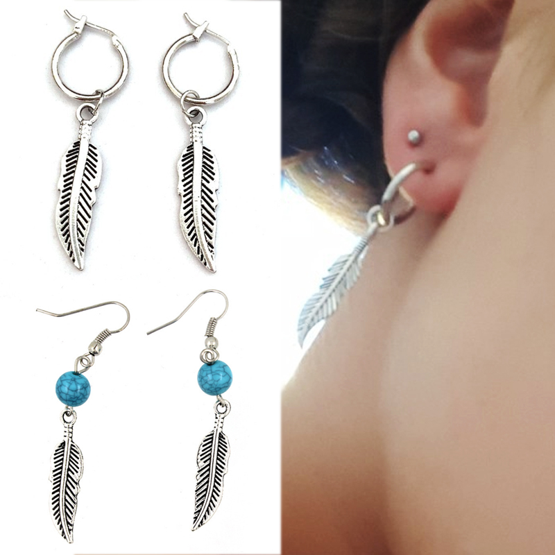 New Arrival Exquesite Blue Stone 1Pair Silver Gifts Drop Earring Simple Bead Feather Christmas Gifts Bohemia Leaf