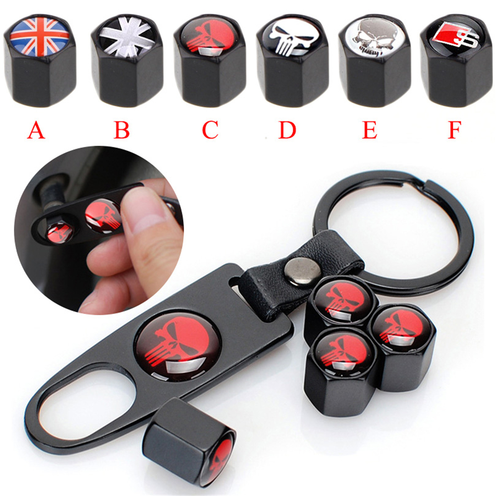 New High Quality Car Wheel Tyre Tire Stem Air Valve Caps Key Chain Set Skull Punisher Black Car Styling