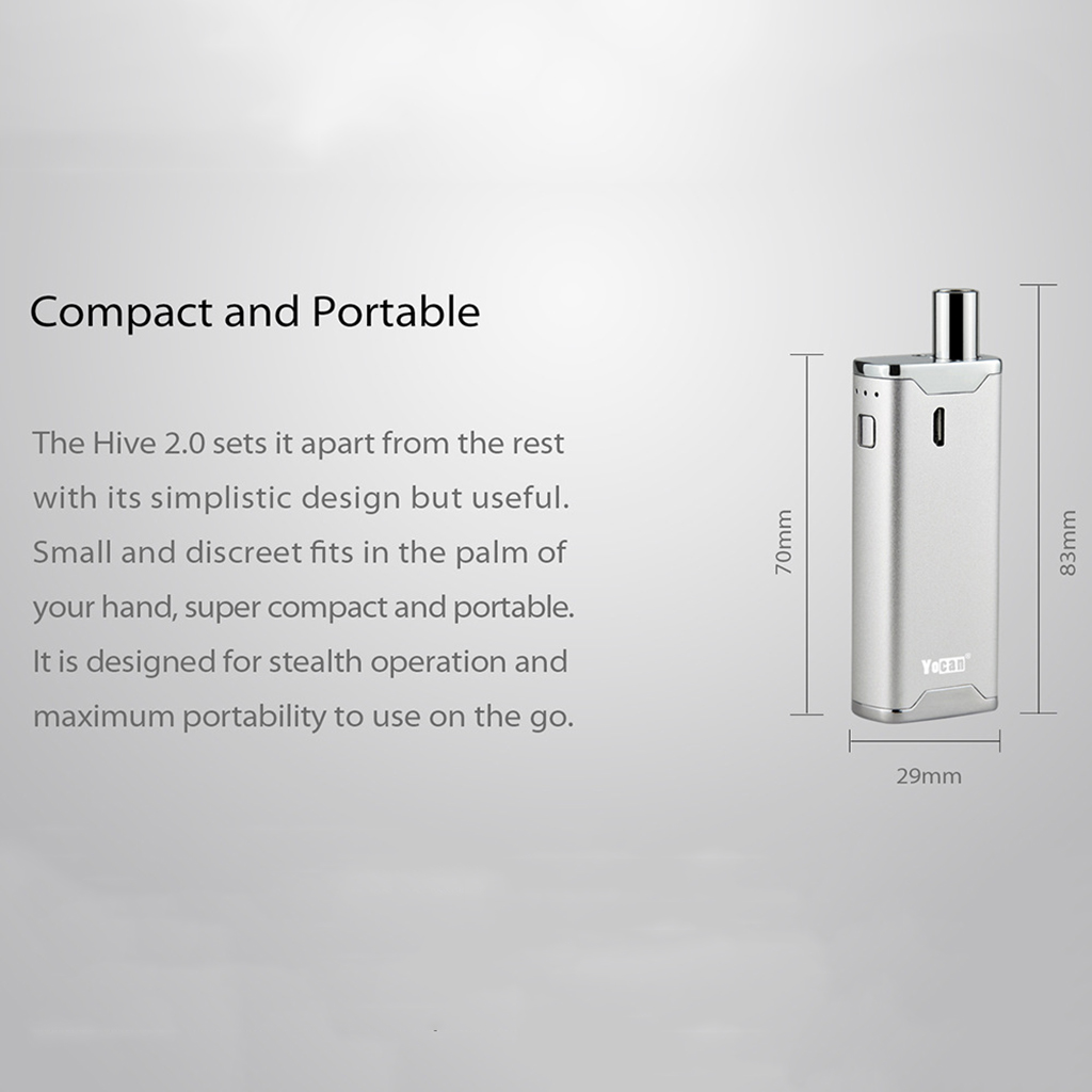 Yocan Hive 2.0 Kit Vaporizer Vape 650Mah Variable Voltage Battery Box Mod Concentrate Wax Oil 2 In 1 Atomizer