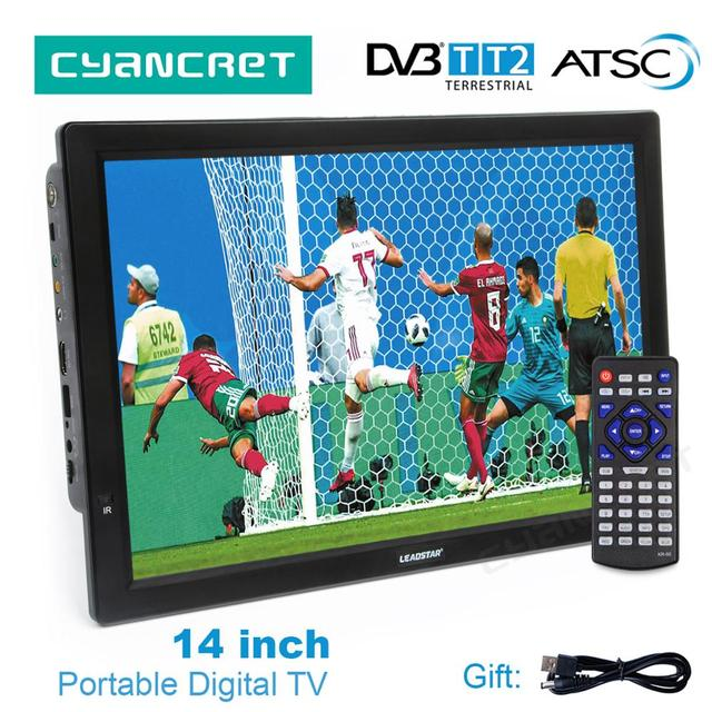 Flash Sale LEADSTAR D14 14 inch HD Portable TV DVB-T2 ATSC Digital Analog Television Mini Small Car TV Support MP4 AC3 HDMI Monitor for PS4