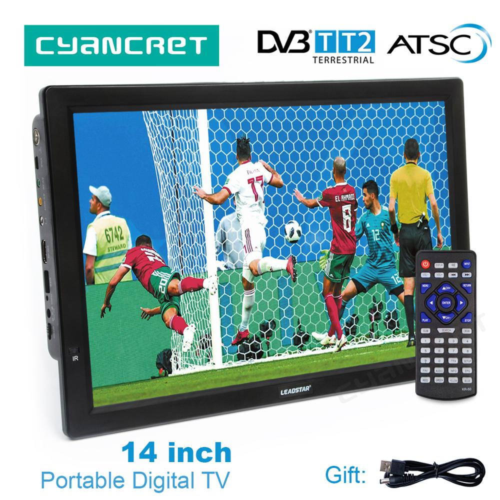 LEADSTAR D14 14 pulgadas HD TV portátil DVB-T2 ATSC Digital de televisión analógica Mini pequeño coche TV MP4 AC3 HDMI monitor para PS4