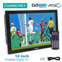 Leadstar D14 14 дюймовым HD монитором под управлением Портативный ТВ DVB T2 цифровое ATSC аналоговое телевидение мини, без рамки, с изображением маленьк