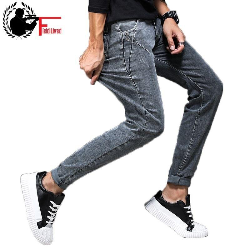 selección premium 9407a 82269 Pantalones vaqueros grises de 2019 para hombre Pantalones vaqueros  elásticos ajustados para motociclista joven pantalones vaqueros masculinos  ropa de ...