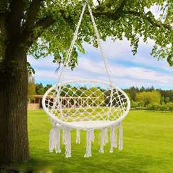 Nordic Style Round Hammock Outdoor Indoor Dormitory Bedroom Hanging Chair For Child Adult Swinging Single Safety Hammock White