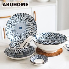 Japanese-style Ceramics Tableware Household Plate Originality Round Dish Salad Soup Bowl AKUHOME 5 6 8 inch japanese cherry blossom ceramic ramen bowl large instant noodle rice soup salad bowl container porcelain tableware