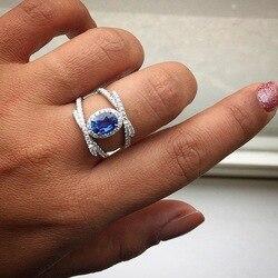 Vintage iç içe yüzük Mavi Taş Parmak Yüzük Kadın Erkek 925 Gümüş düğün takısı Nedime Hediye safir yüzük