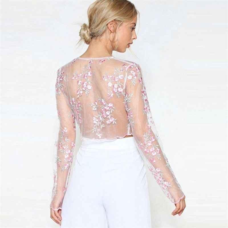 女性長袖シャツ透明シースルー薄手メッシュ網作物トップス刺繍フラワートップスブラウス薄型 Tシャツ