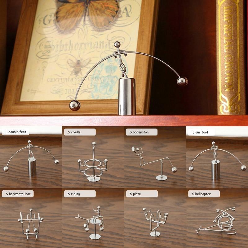 Metal Man Hogar Small Iron Man Perpetual Balance Physics Science Pendulum Newton Cradle Tumbler Desk Toy Home Decor