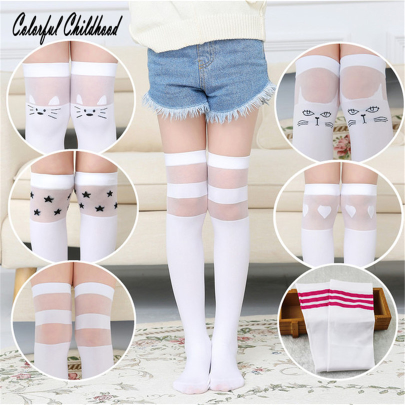 White School Girls Socks Cotton Knee High Long Socks Cartoon Star/heart/stripe Design Princess Socks Kniekousen Meisje