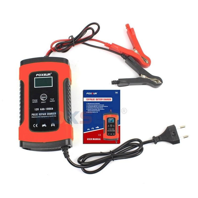Foxsur 12V Motorcycle Battery Charger Repair Type Pulse Repair Battery Charger Charge For Fully  Automotive Car Battery——Eu Plug