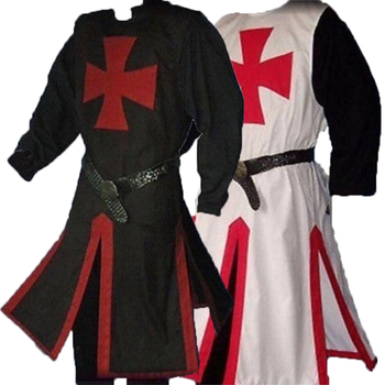 Templar Knight Crusader Surcoat Reenactment Medieval Period Tunic Stage Costumes Long Sleeve Patchwork Male Long Tops Plus Size 3