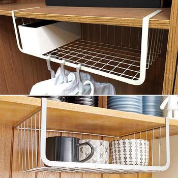 Ferro de malha prateleira cesta armário porta organizador rack suportes do armário pendurado sob prateleira armazenamento cesta rack organizador novo