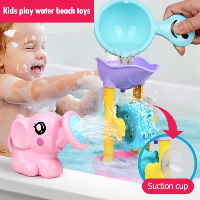 Kids Shower Bath Toys Cute Duck Waterwheel Dolphin Toys Kids Shower Bath Toys Cartoon Animal Waterwheel Baby Faucet Bathing Toy