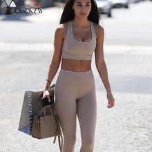 Active Women Gym Yoga Suit High Waist Solid Mujer Two Piece Fitness Jogging Femme Top+legging Clothing Sexy Wear