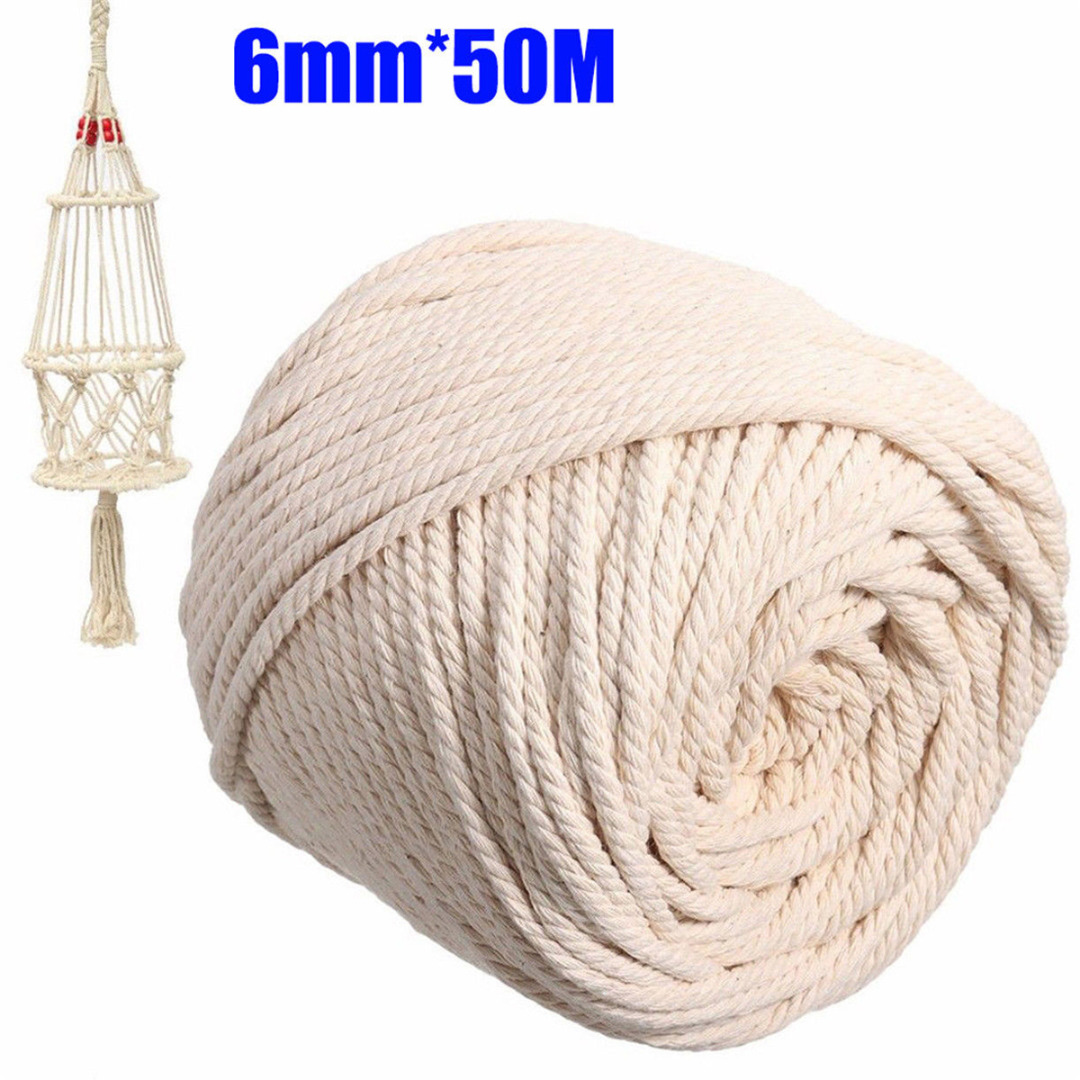 1//2//3//4//5//6mm Cotton Twisted Cord Rope Artisan Macrame String DIY Crafts