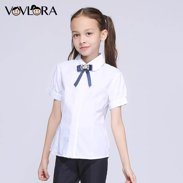 63cd49f9aeba Online Shop White School Blouse Lace Modal Short Sleeve Bubble Girls  Blouses Slim Button Kids Clothes 2018 Summer Size 7 8 9 10 11 12 Years