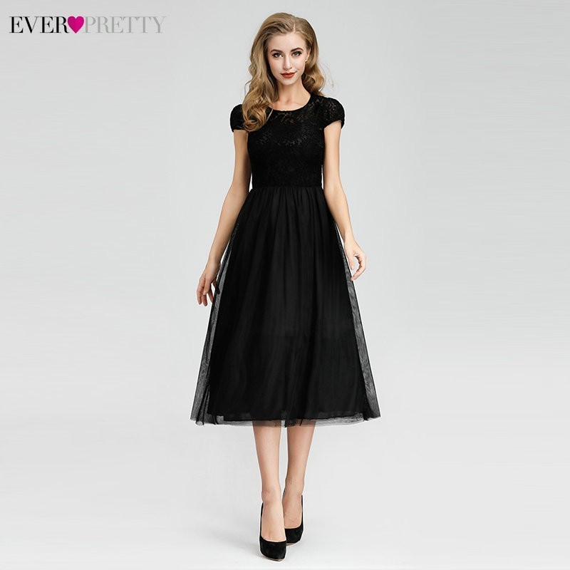 Short Lace   Evening     Dresses   Fashion Ever Pretty EZ03068BK Elegant A Line Little Black Party Gowns Robe De Soiree Longue 2019
