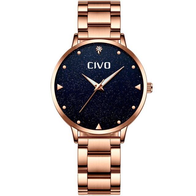 CIVO Luxury Gold Ladies Watches Women Watches Clock Stainless Steel Women'S Bracelet Watches Relogio Feminino Montre Femme 1