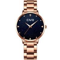CIVO роскошные золотые женские часы из нержавеющей стали женские часы браслет Relogio Feminino Montre Femme