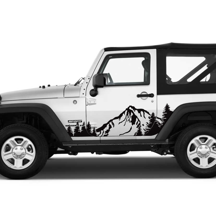 Detail feedback questions about car sticker 2pc cool side door mountains trees graphic vinyls car decal custom for jeep wrangler rubicon sahara on