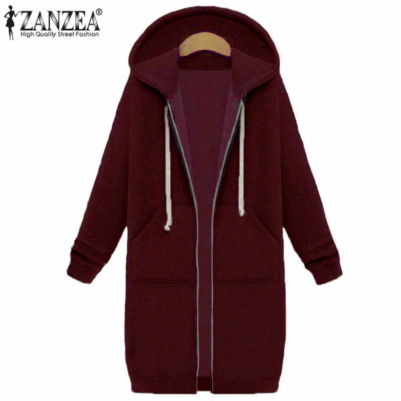 2019 Plus Size ZANZEA Winter Vrouwen Casual Hooded Rits Lange Mouwen Pockets Losse Warm Lange Sweater Jas Bovenkleding Jassen