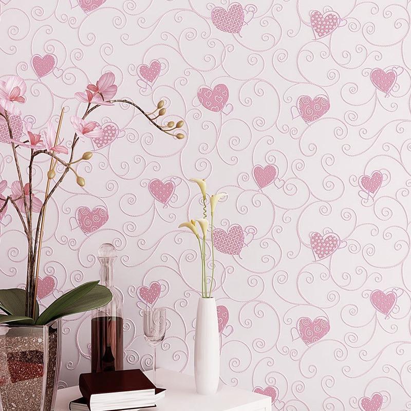 Lucu Kartun 3D Mencintai Hati Wallpaper Biru Pink Baby Girl Dekorasi Kamar Tidur Wallpaper Perekat Anak