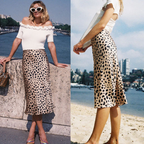Women Ladies Sexy Leopard Vestidos Evening Party Beach Pencil Skirts Silk Soft High Waist Skirts Sundress