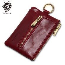 TAUREN Women Genuine Leather Oil Wax Zip Wallet Coin Key Holder Case Bag Fashion Key Chain Holder Charms High Quality(China)