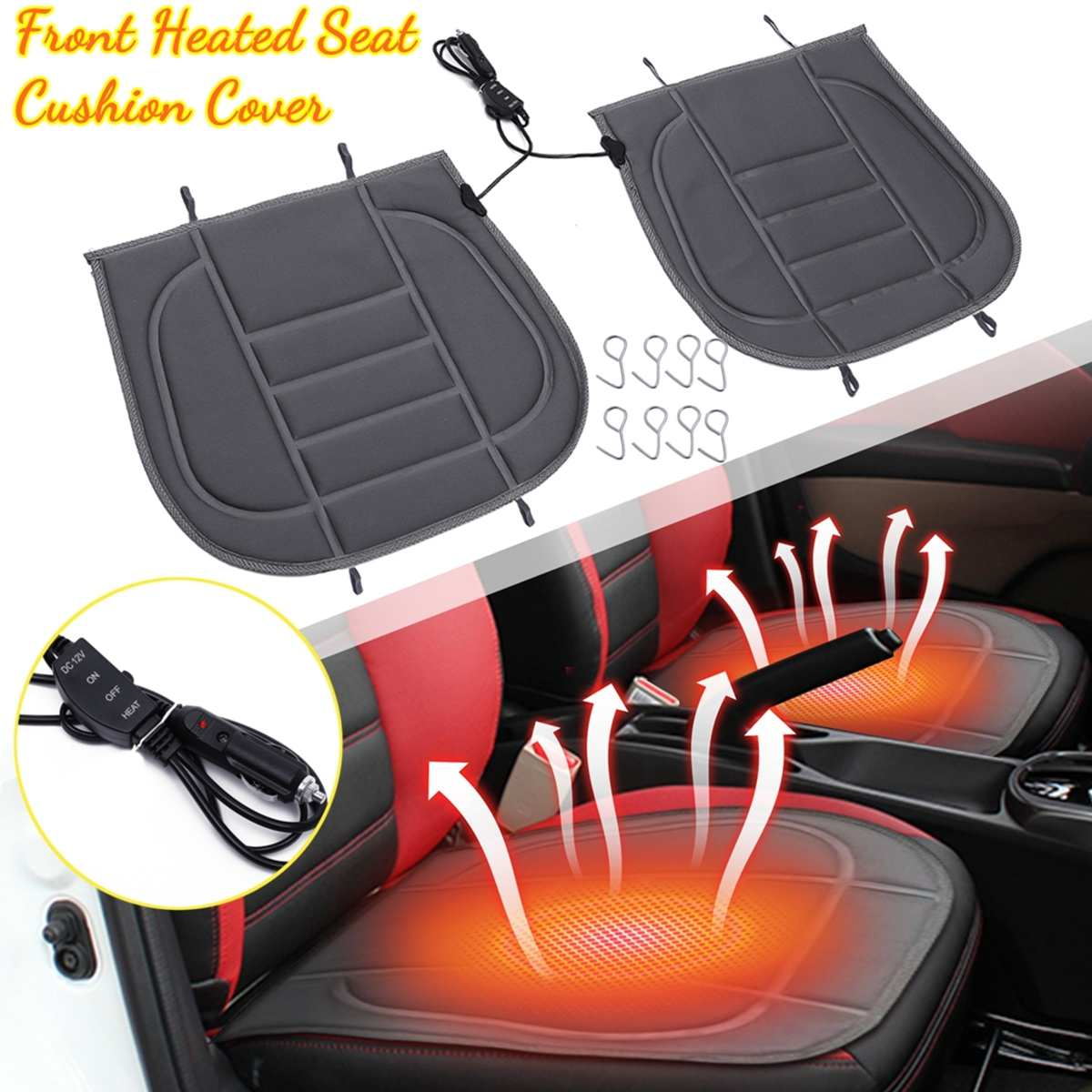 Cushion Car-Heated-Seat-Covers Heating-Pads Universal Front/rear Winter 12V for Double-Car