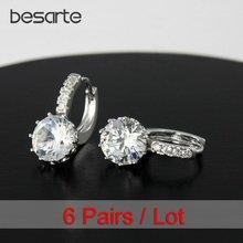 6 пара/лот прозрачные золотые серьги кольца с кристаллами женские