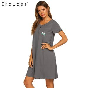 Image 5 - Ekouaer Summer Nightgown Women Sleepwear Dress O Neck Short Sleeve Front Button Pocket Decoration Chemise Night Dress