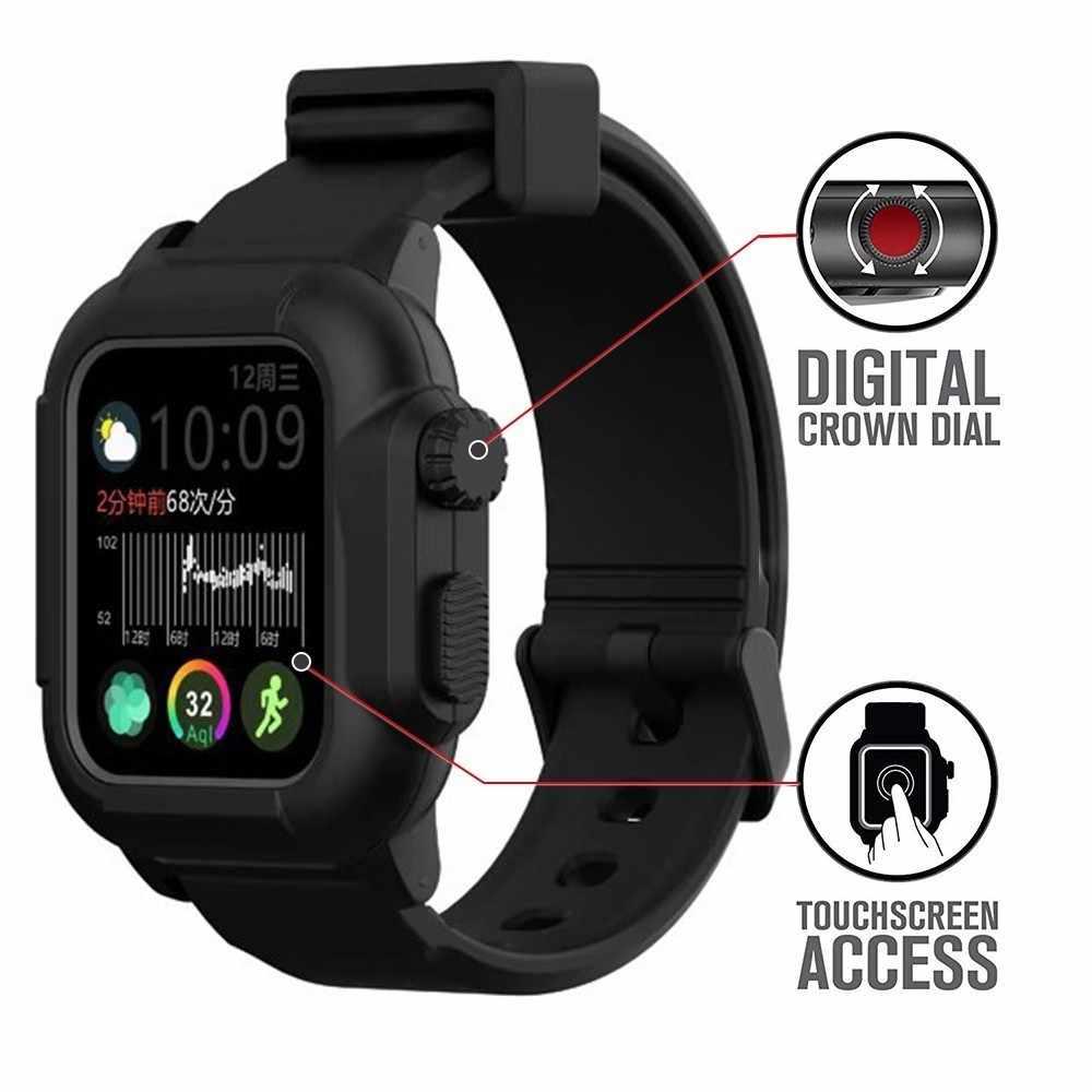 מקרה עמיד למים עבור Apple שעון להקת 4 iwatch להקות 42mm סיליקון רצועת 44mm 40mm pulseira צמיד smart watch אביזרי לולאה