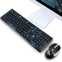 Transaksi Backlit Ergonomis Gaming Nirkabel 2.4G Diterangi 104 Kunci Mekanik Keyboard Mouse Gamer Keypad Set Dropshipping(China)