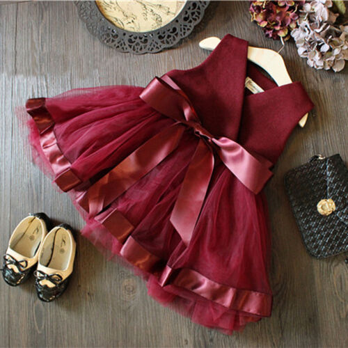 Kids baby toddler red dress girl fashion party dress lace tulle gown multi-color above knee solid dress bridesmaid dress