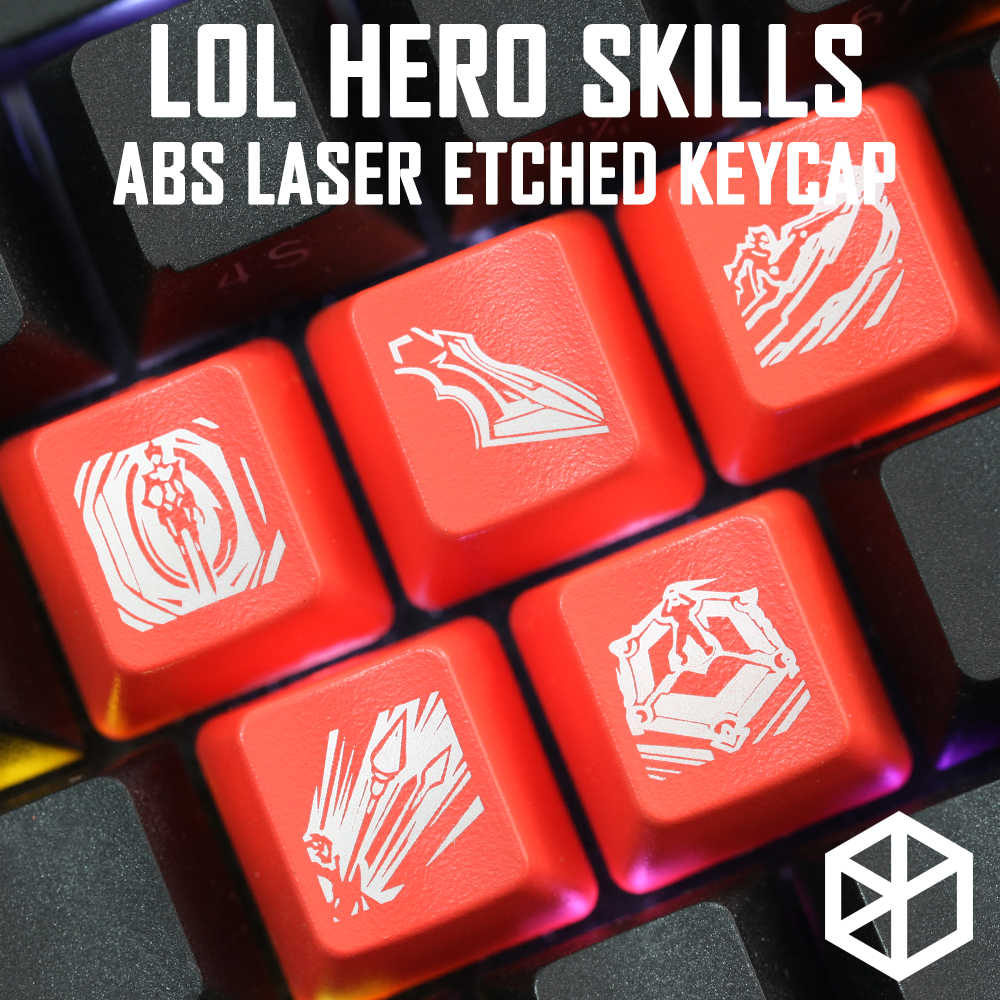 Novelty Shine Through Keycaps ABS Etched, Shine-Through lol black red r2 hero skill Jayce Kayn Gangplank Renekton Camille