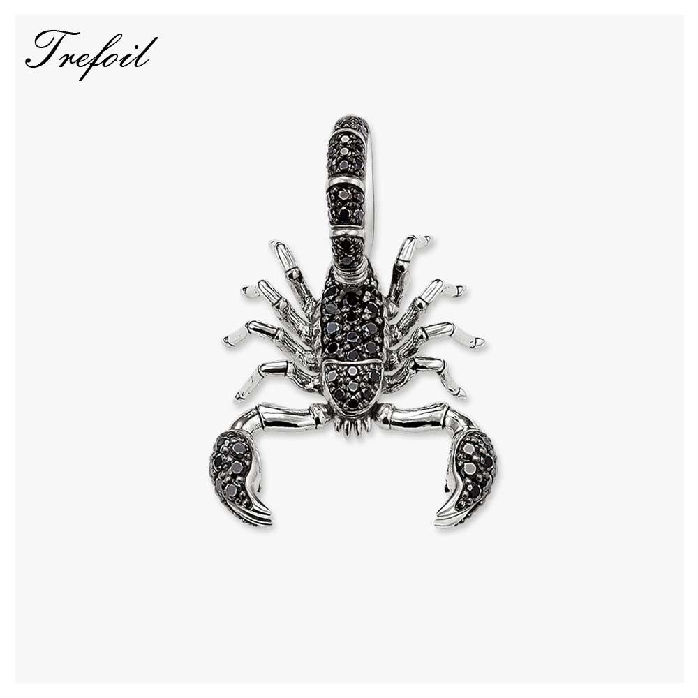 Black CZ Scorpion Pendant, Fashion Jewelry 925 Sterling Silver Blackened Punk Gift For Women Men Boy Girls Fit Necklace 2018 New