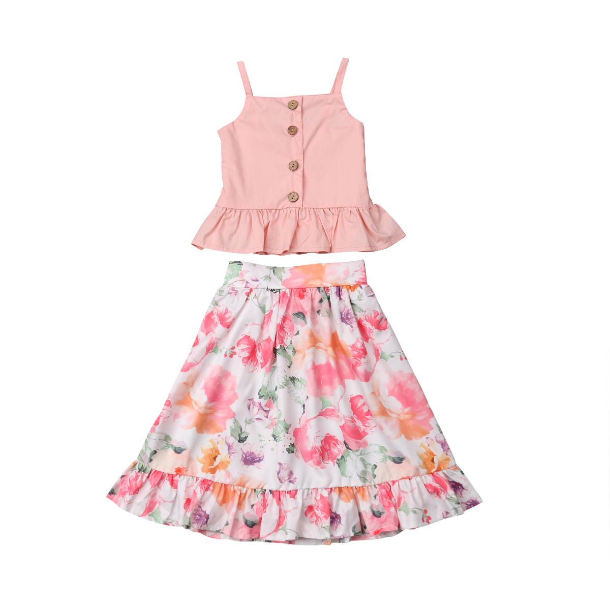 Emmababy 2PCS Toddler Kids Baby Girls Clothes Cute Pink T-shirt Sleeveless Tops Floral Skirt Summer Outfits