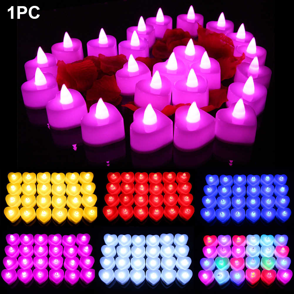 24PCS Wedding Valentine's Day Colorful Mini Electronic Candle Heart Shape Flashlight Safety Simulation Smokeless Night Light Led
