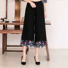 цены 2018 Spring Summer New Elastic Waist Wide Leg Pants Vintage Casual Loose Floral Embroidery Calf-Length Pants Ladies Clothing