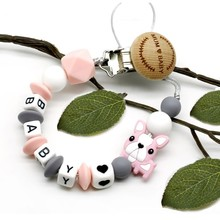 New 8 styles personalized name silicone baby Pacifier Clips