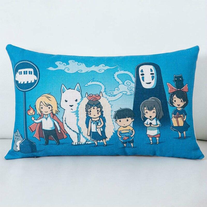אנימה Miyazaki Hayao נרגשת מלבן ריבוע לזרוק ציפית עיצוב הבית כיסוי כרית כיסוי כרית חדש 30X50 CM