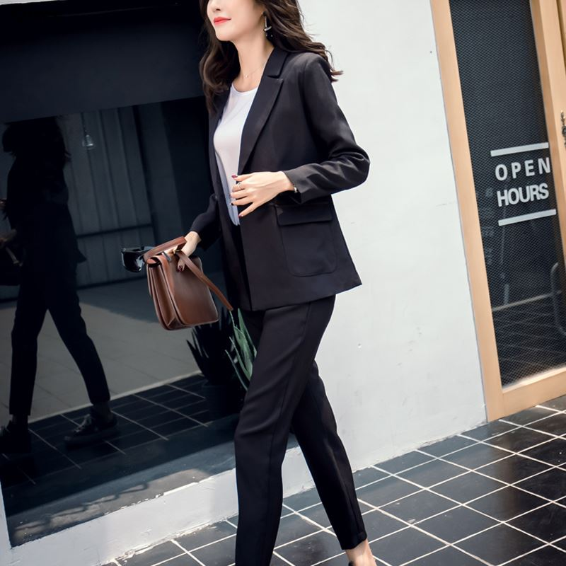 2019 Women 2 Two Piece Sets Short Gray Solid Blazer + High Waist Pant Office Lady Notched Jacket Pant Suits Korean Outfits Femme