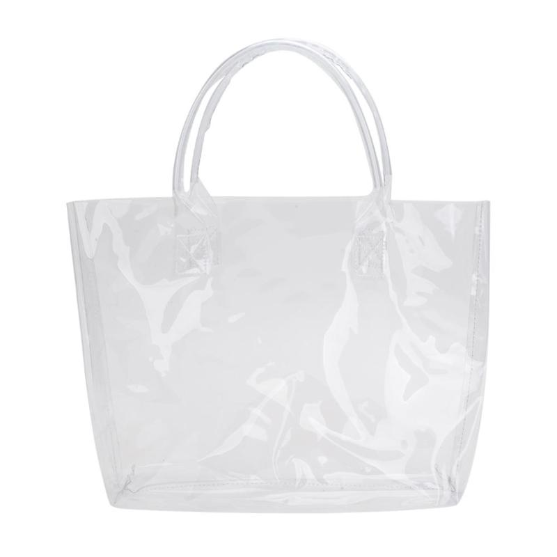Clear Transparent PVC Shoulder Bags Women Jelly Bags Purse Large Casual Tote Solid Color Handbags Sac A Main Female Top Handbag